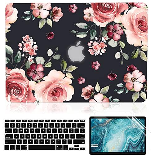 Capa iDonzon para MacBook Air de 13 polegadas A1466 A1369 versão 2010-2017, capa dura preta fosca e capa de teclado e protetor de tela compatível com Mac Air de 13,3 polegadas - Flores de pêssego