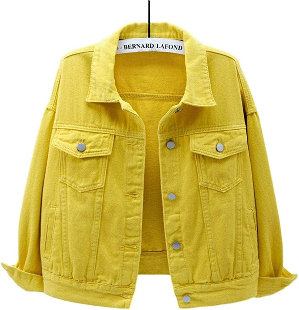 HALITOSS Women's Short Loose Button Down Denim Jean Jacket Coat Casual Outerwear