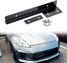 SIZZLEAUTO JDM Style Universal Black Front Bumper License Plate Mount Bracket Holder Relocator Bar
