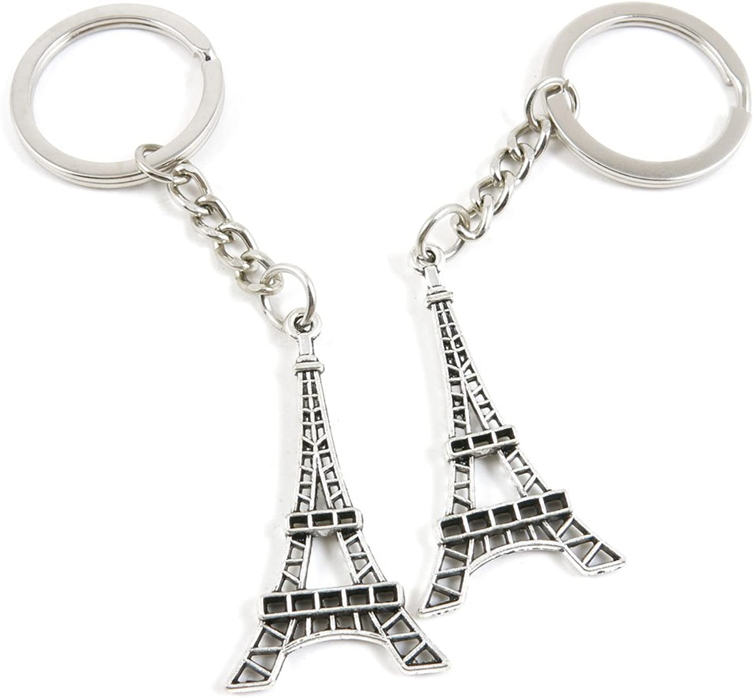 100 Pieces Keychain Keyring Door Car Key Chain Ring Tag Charms Bulk Supply Jewelry Making Clasp Findings E3TC2P Paris Eiffel Tower