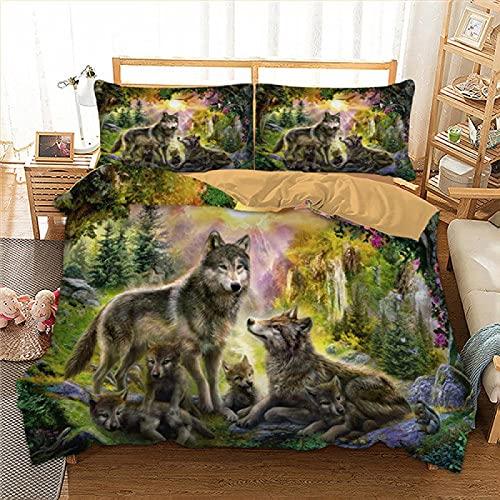 dsgsd Microfibra de decoración de Dormitorio Verde Selva Animal Lobo 150x220cm Juego de Ropa de...
