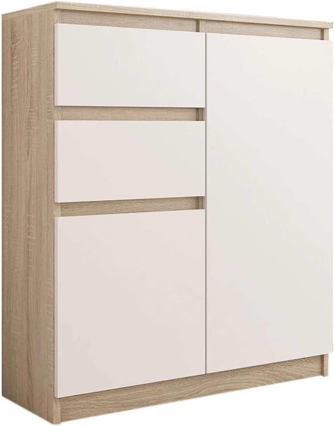 FRAMIRE S-2 Kommode in Sonoma Eiche mit Weiß, Kommode mit 2 Schubladen, 2 Türen, Schrank für Schlafzimmer, Wohnzimmer, Bad, 98 x 80 x 40 cm