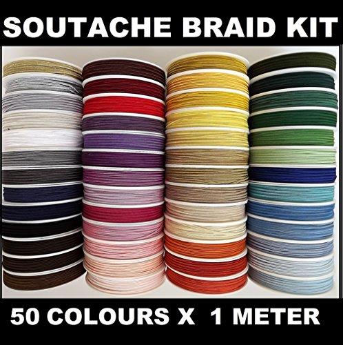 Soutache - Kit de trenzas para soutache, 50 colores x 1 m
