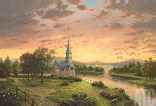ArtToCanvas 42W x 27H inches : Sunrise Chapel by Thomas Kinkade - Paper Print ONLY