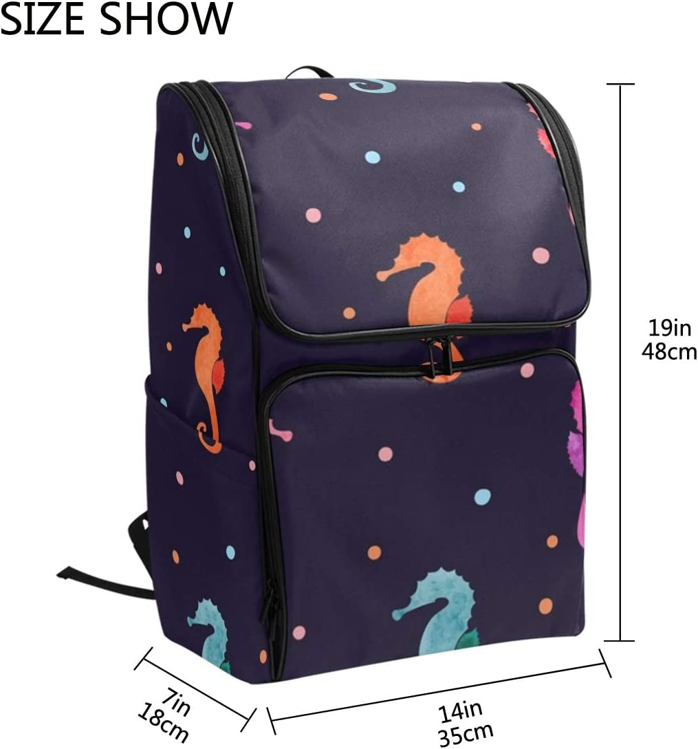 SLHFPX Laptop Backpack Colorful Seahorse Polka Dot Duffle Backpack for Women Big Hiking Bag