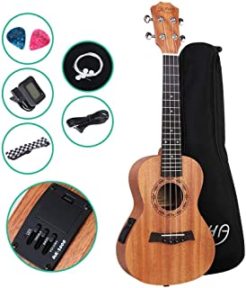 ALPHA 23 Inch Electric Ukulele Ukulele Bass Treble with Tuner Straps ALPHA