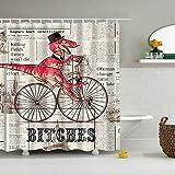 ZZ7379SL Alter roter Dinosaurier der Zeitungs-Hintergr&-1, der den schwarzen Hut trägt, der Fahrrad 3D Digitaldruck Duschvorhang 180 × 180CM + 12 Haken wasserdicht & schimmelresistent fährt