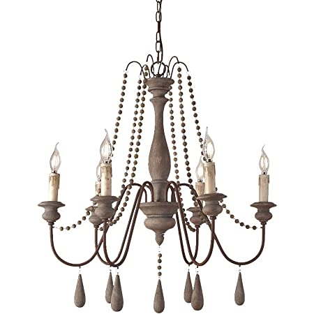 Jinyuze Ceiling Light Fixture French Country Candle Style Wood Bead Swag 1 Tier 2 Tier Wooden Chandelier 6 Lights Gray Amazon Com