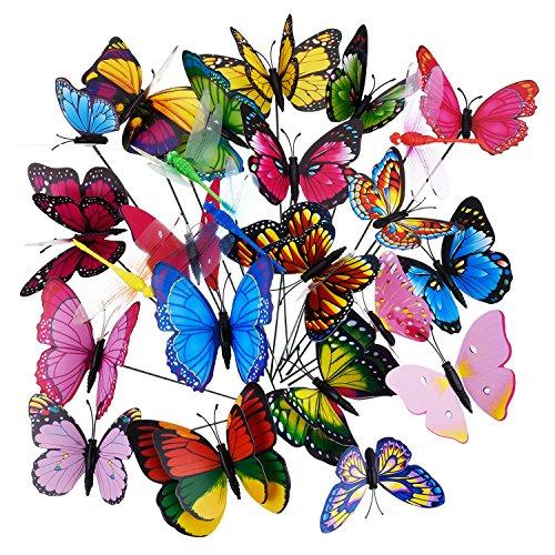 Shappy Papillons de Jardin Papillons sur Bâtons Libellules de Jardin Ornements de Jardin Décorations de Papillons, 24 Pièces en Total