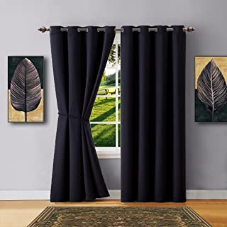 Warm Home Designs 1 Panel of Black Color Blackout Curtains with Grommets. Extra Long Size Insulated Thermal Window Panel is 54