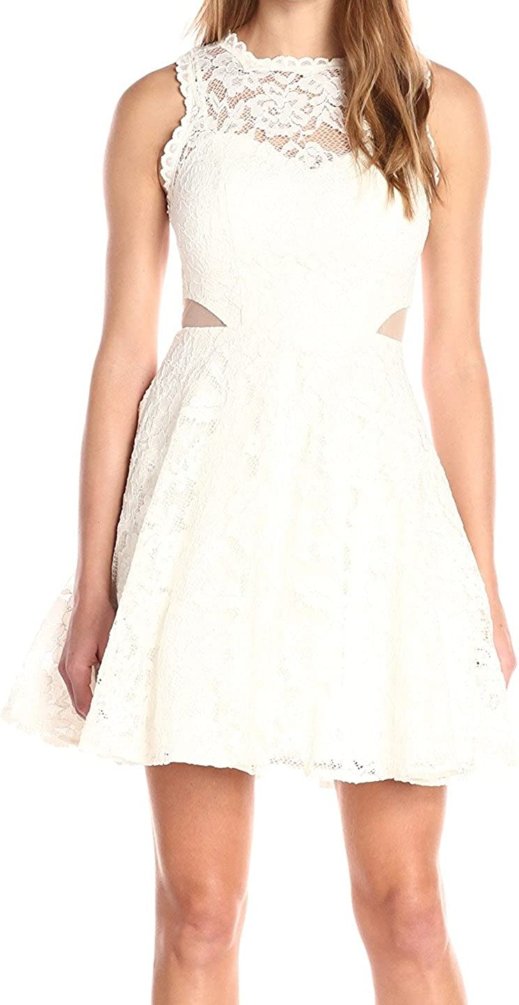 Xscape Womens Ivory Lace Cut Out Sleeveless Illusion Neckline Mini Fit + Flare Cocktail Dress Size 0