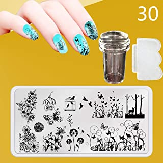 Zmond - New 12X6cm 44 Style Nail Stamping Plates Set Made Stencils Lace Flower DIY Nail Art Templates+Transparent Stamper Stamp Scraper [ 30 ]