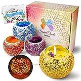 Duftkerze Geschenkset, Aroma Kerzen 4er Set Scented Candle mit Blumen Blüten Natürliches Sojawachs...