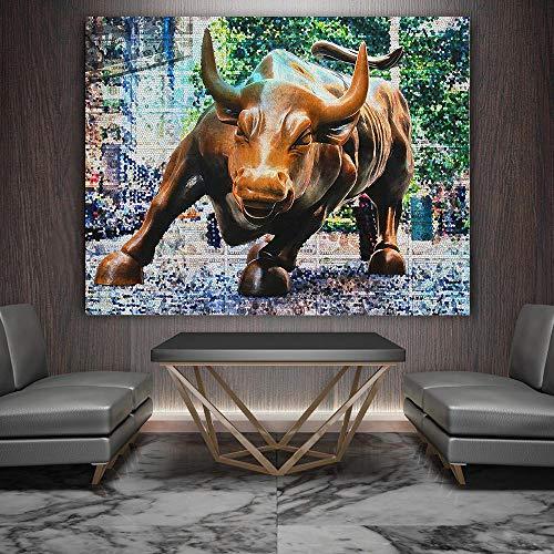 Leinwandbild Wandbilder Kupfer Stier Bild Leinwandbilder Raumdekor -60x80cm ungerahmt