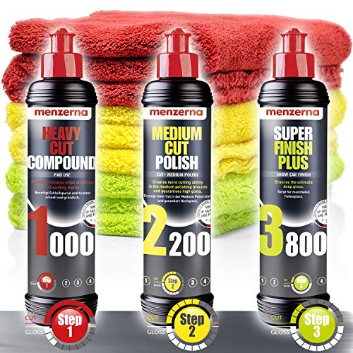 detailmate Kit de Polissage - Menzerna 250ml: Super Heavy Cut Compund HC1000 + Medium Cut 2200 + Super Finish Plus SFP3800 + 3X Chiffon de Polissage 40x40cm
