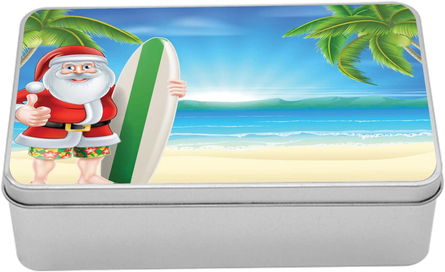 Ambesonne Christmas Tin Box Santa Claus on Super sale period limited Some reservation Beac with Trunks The