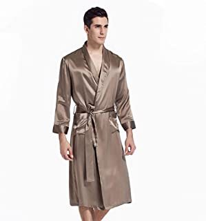LZJDS Men's Heavy Quality Silk Pajamas Men's Long-Sleeved Home Service Mulberry Silk Suit Nightgown 100% Mulberry Silk Cre...