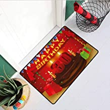 RelaxBear 30th Birthday Welcome Door mat Celebration with Chocolate Tasty Cream Cake with Colorful Flags and Gifts Door mat is odorless and Durable W23.6 x L35.4 Inch Multicolor
