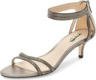 Women Open Toe Low Heel Strappy Rhinestone Sandals Ankle Strap Wedding Dress Pumps with Zip
