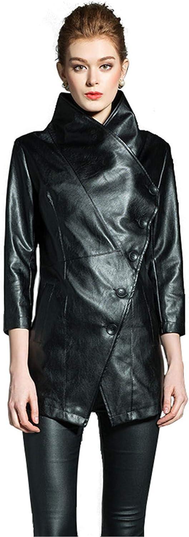 Snhpk Women's Leather PU Jacket Punk Moto Lapel Trench Casual Rock Motorcycle Coat Outwear,Black,XXL