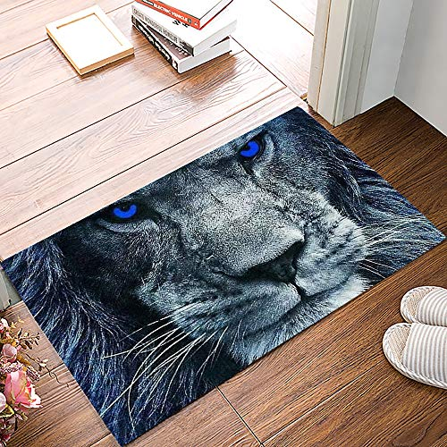 MuswannaA Indoor Doormat Front Door Welcome Mat Cool Handsome Blue-Eyed Lion Mighty Ferocious Forest Animal Non Slip Floor Mat Entryway Rug Durable Low-Profile Mat Home Decor- 18' x 30'