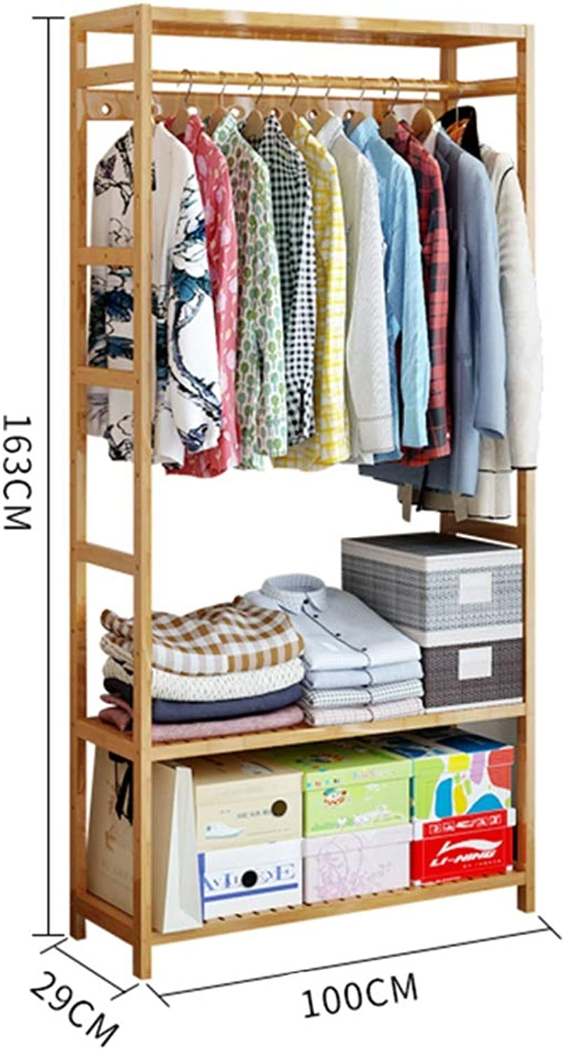 JIAYING Freestanding Garment Rack,Bamboo Garment Coat Clothes Hanging Heavy Duty Rack with top Shelf and 2-Tier shoes Clothing Storage Organizer Shelves (Size   100×29×163CM)
