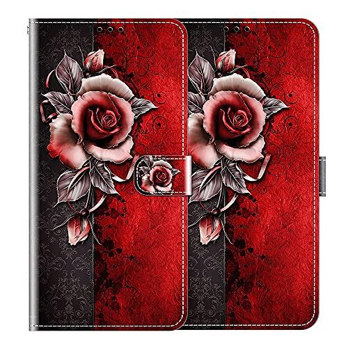 vingarshern Hülle für LG K52 Handytasche Klappbares Magnetverschluss Lederhülle Flip Etui Standfunktion Schutzhülle LG K52 Hülle Leder Brieftasche-(Rose) MEHRWEG