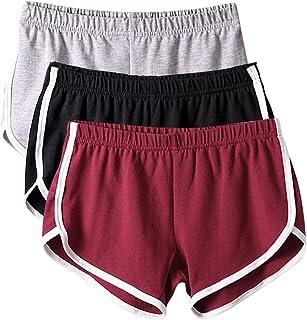 BBYES 3 Packs Womens Solid Basic Workout Shorts Gym Yoga Pants Sports Leggings