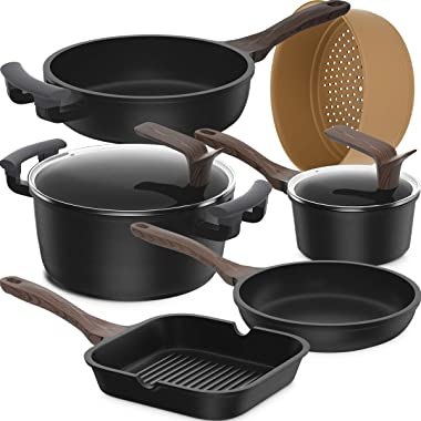Clearance 8-Piece Set Non-Stick Induction Cookware Set, Dishwasher Safe Pots and Pans Set, Silicone Handle Kitchen Ware, Germ