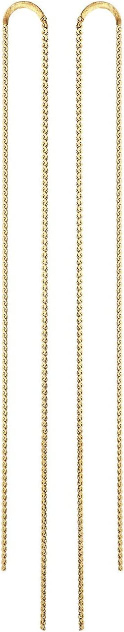 Yellow Gold Post and Chain Earrings