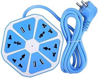XZOANMOL हेक्सागोन इलेक्ट्रिकल एक्सटेंशन कॉर्ड 4 सर्ज पावर सॉकेट 4 USB पोर्ट के साथ कंप्यूटर के लिए 6 ft. वायर प्रोटेक्टर ...