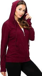 EttelLut Cute Thin Lightweight Full Zip-up Plain Hoodie Jacket for Women