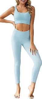 لباس های تمرینی لباس ورزشی زنانه 2 تکه OLCHEE - ست شلوار ساق بلند کمر بلند و ورزش های کششی یوگای یوگا