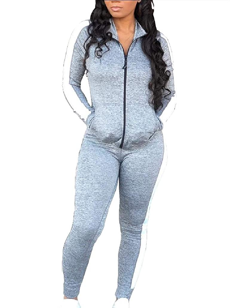咳アイザック適用済みWomen 2 Piece Casual Long Sleeve Top Skinny Long Pants Set Tracksuits Outfits