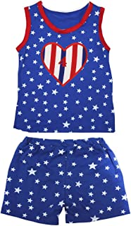 Petitebella Girls' 4Th RWB Heart Patriotic Stars Red Cotton Shirt Short Set