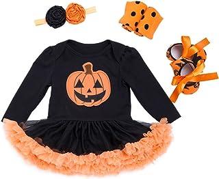 Vine Bebé Niñas 4pcs Trajes de Halloween Tutú Mameluco con Venda Calentadores de pierna Zapatos Traje de calabaza