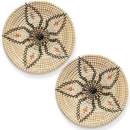 wivarra Wall Basket Decor Set - Rattan Wall Decor - Wall Art nel Vimini - Cesto di Frutta Intrecciato - Ciotola Decorativa Seagrass - Hanging