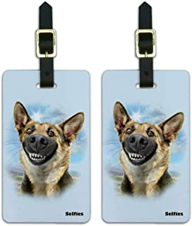 German Shepherd Dog Selfie Luggage ID Tags Suitcase Carry-On Cards - Set of 2
