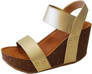 Refresh Women's Mara-10 Platform Cork Wedge High Heel Leather Sandal…