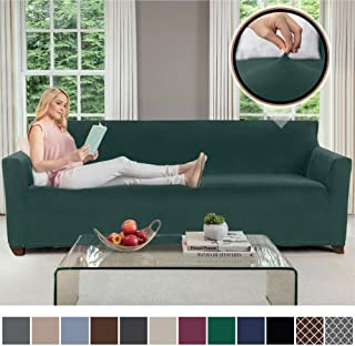 Gorilla Grip Original Velvet Fitted 1 Piece Oversized Sofa Slipcover, Stretch Up to 78 Inches, Soft Velvety Cover, Couch Slip Cover, Spandex Sofas Furniture Protector with Fasteners, Hunter Green