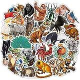 80pcs Waterproof Rainforest Animal Stickers for Kids Students Teachers Zoo Jungle Animal Vinyl Sticker for Laptop Water Bottle Scrapbooking Skateboard Bike Luggage Decals