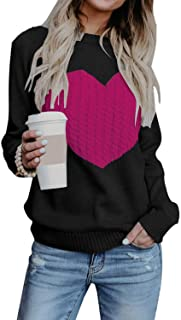 Womens Crew Neck Long Sleeve Knit Sweater Pullover Top with Unique Pocket
