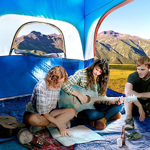 CAMPROS Tent-6-Person-Camping-Tents, Waterproof Windproof Family Tent with Top Rainfly, 4 Large Mesh Windows, Double Layer, Easy Set Up, Portable with Carry Bag, for All Seasons - Blue