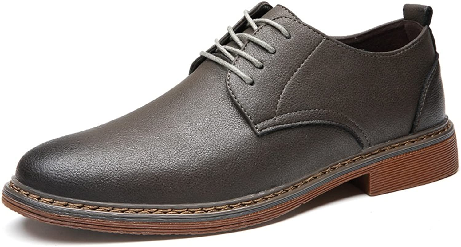 GLSHI Men's shoes Microfiber Spring Fall Formal shoes Comfort Oxfords Lace-up For Casual Office & Career Black Khaki