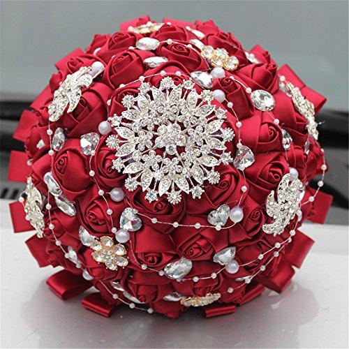 Quibine Bouquets de Mariée avec Strass Perles pour Mariage Rose Satin Fleur Artificielle, Dia: 24cm, Rouge Foncé