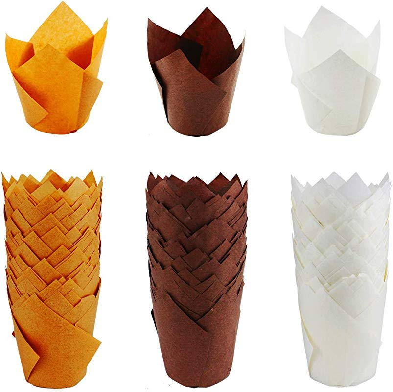 Wpxmer 150 Pieces Tulip Baking Paper Cups Cupcake Muffin Liners Baking Cup Holder For Party Weddings Brown Natural And White Color