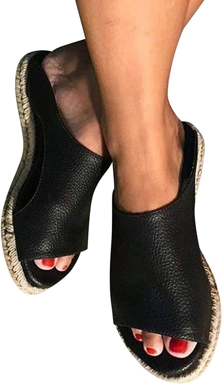 Women Flat Sandals, Women Slide Sandals Fish Mouth Solid Color Open Toe Sandals Flat Shoes Breathable Outdoor Leisure Sandals Slippers,002,41EU