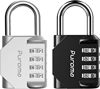 Puroma 2 Pack 4 Digit Combination Locks School Gym Locker Padlock (Silver & Black)