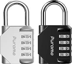 Puroma 2 Pack 4 Digit Combination Locks School Gym Locker Padlock (Silver & Black)