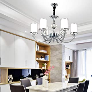 6-Light Chandelier Modern Hanging Ceiling Light Farmhouse Multi Pendant Light Brushed Nickel Finish with Glass Shade